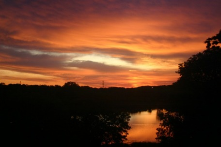Sunrise over Minnesota lake, copyright Christine Petersen 2009